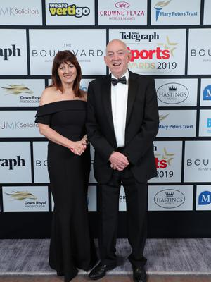 Press Eye - Belfast - Northern Ireland - 20th January  2020    Antoinette McKeown and George Lucas pictured at the 2019 Belfast Telegraph Sport Awards at the Crowne Plaza Hotel in Belfast.  Photo by Kelvin Boyes / Press Eye.