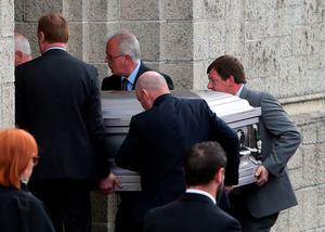 The coffin of Olivia Burke arrives at the Church of Our Lady of Perpetual Succour in Foxrock, Dublin, for her funeral service. PRESS ASSOCIATION Photo. Picture date: Wednesday June 24, 2015. She died when a balcony collapsed in the college town of Berkeley, California. See PA story FUNERAL Balcony. Photo credit should read: Brian Lawless/PA Wire