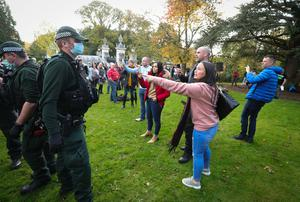 Members of the public take part in a 'Peaceful Gathering'  in the grounds of Stormont Estate, Belfast.  Photo by Kelvin Boyes / Press Eye.