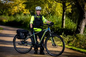 Strandtown Neighbour Policing Team Officer Clare Douglas in Victoria Park in Belfast with a new electric bicycle. Liam McBurney/PA Wire