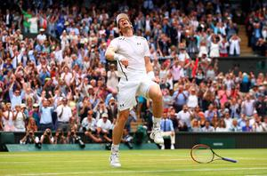 LONDON, ENGLAND - JULY 10:  Andy Murray of Great Britain celebrates victory during the Men's Singles Final against Milos Raonic of Canada on day thirteen of the Wimbledon Lawn Tennis Championships at the All England Lawn Tennis and Croquet Club on July 10, 2016 in London, England.  (Photo by Julian Finney/Getty Images) *** BESTPIX ***