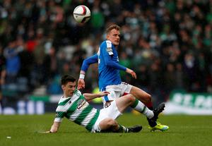 Rangers' Dean Shiels and Celtic's Kieran Tierney battle for the ball during the William Hill Scottish Cup semi-final match at Hampden Park, Glasgow. PRESS ASSOCIATION Photo. Picture date: Sunday April 17, 2016. See PA story SOCCER Rangers. Photo credit should read: Danny Lawson/PA Wire. EDITORIAL USE ONLY