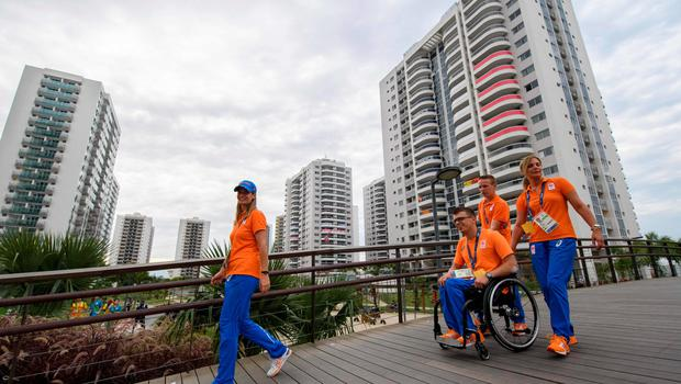 Dutch athletes stroll around the Paralympic Village during the Paralympic Games in Rio de Janeiro, Brazil, on September 6, 2016. Photo by: Thomas Lovelock for OIS/IOC via AFP. RESTRICTED TO EDITORIAL USE. / AFP PHOTO / OIS/IOC / Thomas Lovelock for OIS/IOCTHOMAS LOVELOCK FOR OIS/IOC/AFP/Getty Images