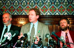 File photo dated 31/08/95 of Martin McGuinness, leading Sinn Fein negotiator in the peace process, attending a news conference in the House of Commons.John Stillwell/PA Wire
