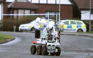 Controlled explosion carried out during security alert at Broadlands Gardens in Carrickfergus. Pic Jonathan Porter