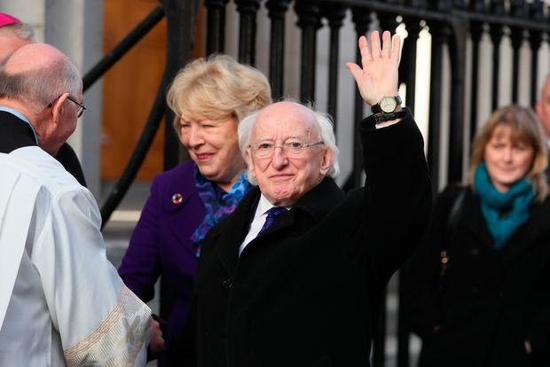 Irish President Michael D Higgins arrives for the funeral of the celebrated broadcaster Gay Byrne at St. Mary's Pro-Cathedral in Dublin. PA Photo.