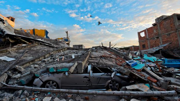 Picture showing the destruction in Manta, Ecuador, on April 17, 2016 a day after a powerful 7.8-magnitude quake hit the country. ACOSTA/AFP/Getty Images