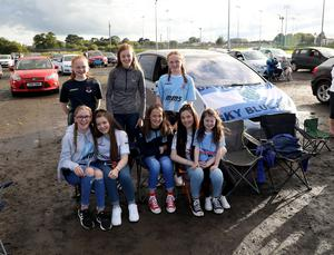 PACEMAKER PRESS BELFAST 31/7/2020 Ballymena United suppporters gathered at a drive-in screening of the match against Glentoran at Ballymena Showgrounds in order to facilitate social distancing.  Pictured at Ballymena UnitedÕs under 15 womenÕs team. Photo Pacemaker Press