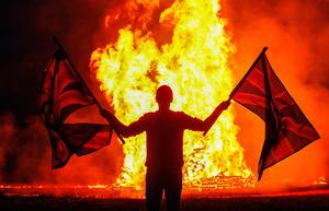 The 11th night bonfire is lit at Moneyreagh Co Down. Picture Colm O'Reilly