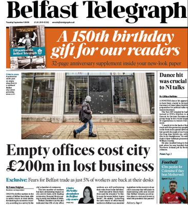 The new look Belfast Telegraph's edition dated September 1, 2020 - 150 years on from the creation of the newspaper.