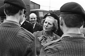 Visit of Prime Minister Margaret Thatcher at St. Angelo Airport outside Enniskillen where she is pictured inspecting the 39 Field Regiment of Royal Artillery who presented her with a beret by Col Kit Faith, 6th March 1981
