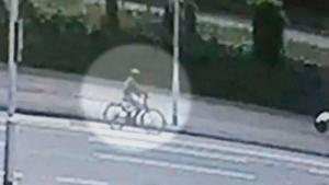 CCTV footage that shows Noah Donohoe cycling along Belfast's York Road minutes before the last sighting of him.