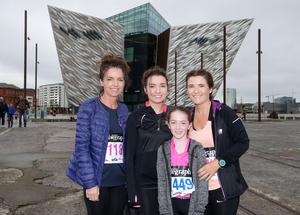 Press Eye Belfast - Northern Ireland 10th September 2017  Pure Running's and The Belfast Telegraph's RunHer Titanic 5k and 10k race in the Titanic Quarter of Belfast.   Left to right.  Ann Domican, Kirsty Arnold, Katie Kearney(11) and her mum Tracy from Ballynahinch   Picture by Jonathan Porter/PressEye.com