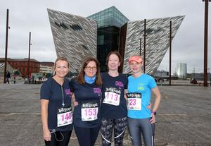 Press Eye Belfast - Northern Ireland 10th September 2017  Pure Running's and The Belfast Telegraph's RunHer Titanic 5k and 10k race in the Titanic Quarter of Belfast.   Left to right.  Alison Falls, Sharon Forsythe, Nolleen Diamond and Joan Beech from Antrim  Picture by Jonathan Porter/PressEye.com
