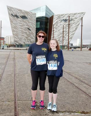 Press Eye Belfast - Northern Ireland 10th September 2017  Pure Running's and The Belfast Telegraph's RunHer Titanic 5k and 10k race in the Titanic Quarter of Belfast.   Left to right.  Ruth Sanders and Kelly Henderson from Lisburn   Picture by Jonathan Porter/PressEye.com