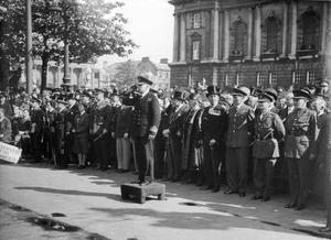 World War 2:  VE - Day.  Real Admiral R H L Bevan taking salute, Victory Day parade Belfast.  (13/05/1945)