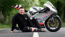 Silver machine: Gary Dunlop pictured with his Moto 3 bike which he will race at this year's fonaCAB Ulster Grand Prix