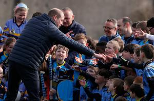 The Duke of Cambridge during a visit to Salthill Knocknacarra GAA club in Galway to learn more about traditional sports during the third day of their visit to the Republic of Ireland. PA Photo. Picture date: Thursday March 5, 2020. See PA story ROYAL Cambridge. Photo credit should read: Brian Lawless/PA Wire