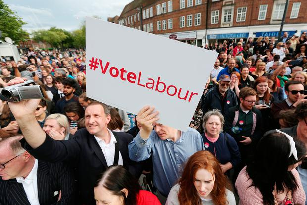 Labour supporters an event at the Parade in Watford, ahead of a speech from Labour leader Jeremy Corbyn while on the General Election campaign trail. PRESS ASSOCIATION Photo. Picture date: Tuesday June 6, 2017. See PA story ELECTION Main. Photo credit should read: Jonathan Brady/PA Wire