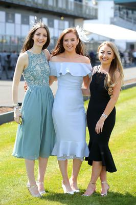 Press Eye - Belfast - Northern Ireland 1st May 2017 - Photo by Kelvin Boyes / Press Eye. Claire Melville, Keeva McIlwaine and Aoife Ramsay pictured at the Daily Mirror May Day Meeting at Down Royal Racecourse