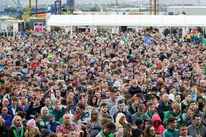 Press Eye - Northern Ireland - 16th June 2016  Fans pictured in the Northern Ireland fan zone in association with Vauxhall at Titanic slipways, as Northern Ireland meet Ukraine in the Euros on June 16th.  Picture: Philip Magowan / PressEye