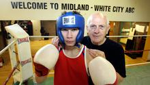 In the beginning: A young Carl Frampton, who was heading to the C'wealth Youth Games in 2004, with his coach Billy McKee, at Midland Boxing Club