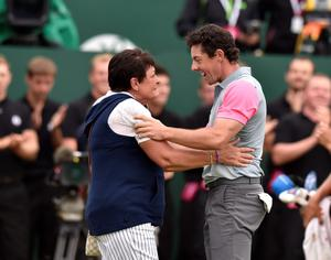 Northern Ireland's Rory McIlroy celebrates winning the 2014 Open Championship with his mum at Royal Liverpool Golf Club, Hoylake.