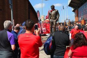 Statue of former Manchester United boss David Moyes is put up outside Anfield