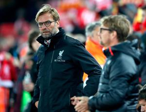 """Liverpool manager Jurgen Klopp (left) during the EFL Cup, round of 16 match at Anfield, Liverpool. PRESS ASSOCIATION Photo. Picture date: Tuesday October 25, 2016. See PA story SOCCER Liverpool. Photo credit should read: Nick Potts/PA Wire. RESTRICTIONS: EDITORIAL USE ONLY No use with unauthorised audio, video, data, fixture lists, club/league logos or """"live"""" services. Online in-match use limited to 75 images, no video emulation. No use in betting, games or single club/league/player publications."""