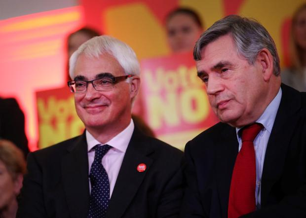 GLASGOW, SCOTLAND - SEPTEMBER 16:  Former Prime Minister Gordon Brown (R) appears with campaign leader Alistair Darling at a rally of No supporters at Dumbarton Town Hall on September 16, 2014 in Glasgow, Scotland. Yes and No supporters are campaigning in the last two days of the referendum to decide if Scotland will become an indpendent country.  (Photo by Peter Macdiarmid/Getty Images)