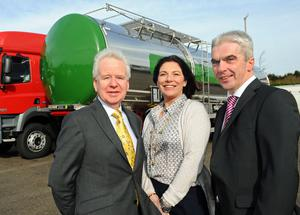 Crossland Tankers, based outside Swatragh, has created seven new positions with help from Invest Northern Irelands Jobs Fund, as part of plans to grow its export sales. Pictured (left) is Kevin McCann, Invest NI, with Cathy McKeefrey and Sean McKeown, Crossland Tankers.Photo by Simon Graham/Harrison Photography