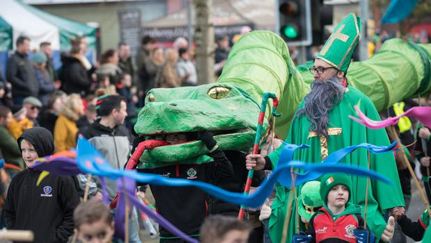 St Patrick who brought one of his snakes back to Strabane during the St. Patrick's Day Spring Carnival parade in Strabane. Picture Martin McKeown. Inpresspics.com. 17.03.19