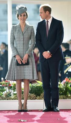 The Duchess of Cambridge and Prince William during a ceremonial welcome for the President of Singapore at Horse Guards Parade in London yesterday