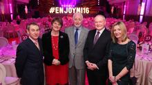 Press Eye - Belfast - Northern Ireland - 12th January 2016 -   First Minister, Arlene Foster and deputy First Minister, Martin McGuinness are pictured with Nigel Barden, BBC Broadcaster; Terence Brannigan, Chairman Tourism NI and  Laura Briggs, BBC Good Food and Enterprise Trade at an event in the Ulster Hall which showcased a range of local produce as the opener for the Year of Food and Drink 2016.   Picture by Kelvin Boyes / Press Eye.