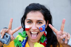 The beautiful game - football fans from around the world:  An Australia fan enjoys the atmosphere prior to the 2014 FIFA World Cup Brazil Group B match between Chile and Australia at Arena Pantanal on June 13, 2014 in Cuiaba, Brazil.  (Photo by Cameron Spencer/Getty Images)