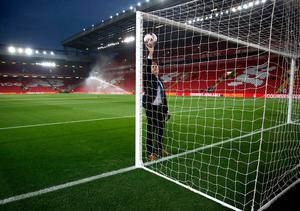 The goal line technology is tested before the EFL Cup, round of 16 match at Anfield, Liverpool. PA