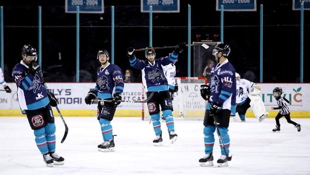 Press Eye - Belfast, Northern Ireland - 11th February 2020 - Photo by William Cherry/Presseye  Some of the Belfast Giants players at Mark Garside's Testimonial at the SSE Arena (William Cherry/PressEye)