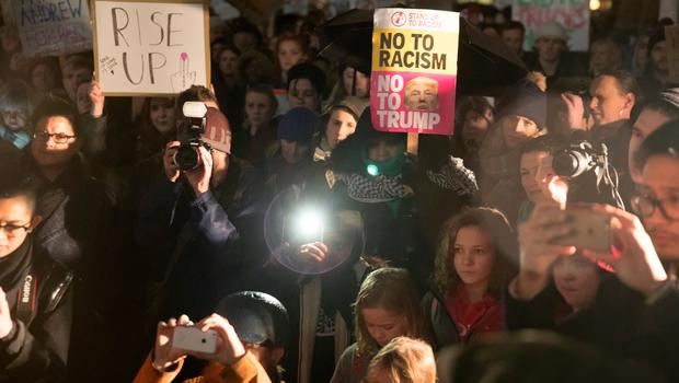BRISTOL, ENGLAND - JANUARY 30:  Demonstrators protest against US President Donald Trump's ban on people from seven Muslim-majority countries entering the US on College Green on January 30, 2017 in Bristol, England. President Trump signed an executive order on Friday banning immigration to the USA from seven Muslim countries.  This led to protests across America and, today, the UK.  A British petition asking for the downgrading of Trump's State visit passed one million signatures this morning.  (Photo by Matt Cardy/Getty Images)