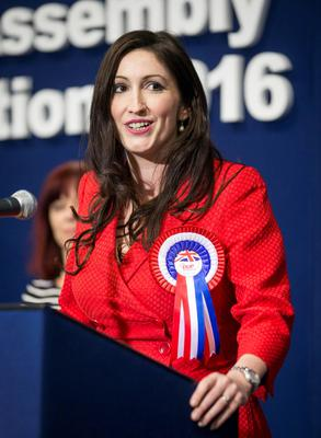 Newly elected DUP MLA for Belfast South, Emma Little Pengelly speaks at the Titanic Exhibition Centre in the Northern Ireland Assembly Elections. Liam McBurney/PA Wire
