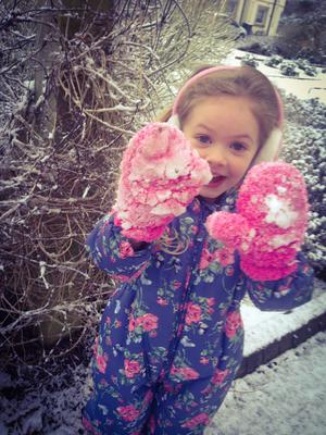 Four-year-old Anna from Carryduff enjoying an afternoon in the snow. Pic. Claire Scarborough (28/01/2015)