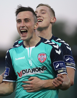 It's there: Aaron McEneff, with Ronan Curtis, after his goal. Photo@ Lorcan Doherty/Presseye