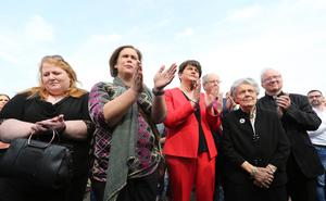 The community vigil held on Fanad Drive, Creggan, following the murder of 29 years-old Lyra McKee.    Alliance leader Naomi Long, Sinn Fein Leader Mary Lou McDonald and DUP leader Arlene Foster, Bishop Ken Good, Mary Hamilton and Bishop Donal McKeown.