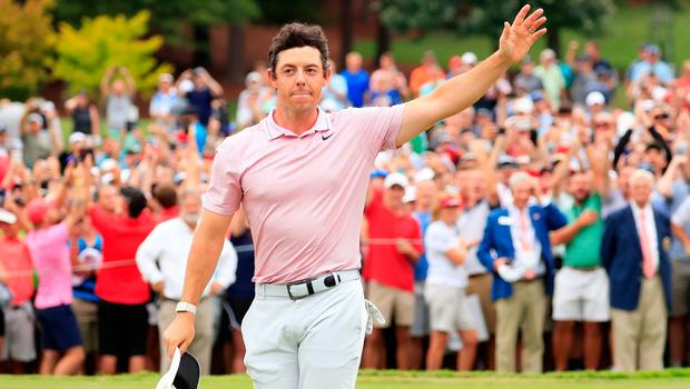 Rory McIlroy celebrates securing his second FedEx Cup title at East Lake in 2019
