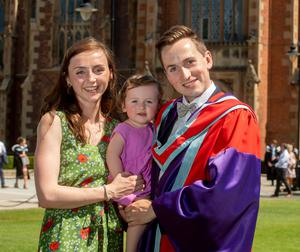 Stephen Prentice graduated today from Queen's University with a PhD in Geography. He is pictured with his wife Carla and daughter Lydia.