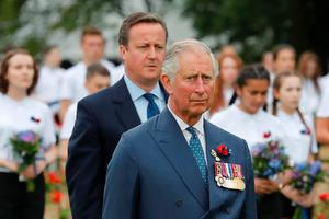 Britain's Prince Charles (R) and Britain's Prime Minister David Cameron attend a a memorial ceremony on July 1, 2016 at the Thiepval Memorial, northern France, during which Britain and France mark the 100 years since soldiers emerged from their trenches to begin one of the bloodiest battles of World War I (WWI) at the River Somme. / AFP PHOTO / POOL / Francois MoriFRANCOIS MORI/AFP/Getty Images