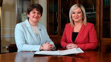 First Minister, Arlene Foster of the DUP and deputy First Minister Michelle O'Neill (right) of Sinn Fein