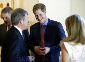 WASHINGTON, DC - MAY 09:  Sen. Roy Blunt, D-Mo., (2ndL), speaks with England's Prince Harry, before a reception and dinner at the British Ambassador's residence on May 9, 2013 in Washington, DC. HRH Prince Harry will be undertaking engagements on behalf of charities with which the Prince is closely associated on behalf also of HM Government, with a central theme of supporting injured service personnel from the UK and US forces. (Photo by Alex Brandon-Pool/Getty Images)