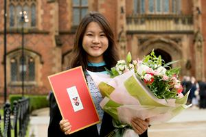 Zhi Hsuen Tan, from Malaysia, celebrated graduating with a First Class Honours in Aerospace Engineering, from the School of Mechanical and Aerospace Engineering at Queen's University Belfast.