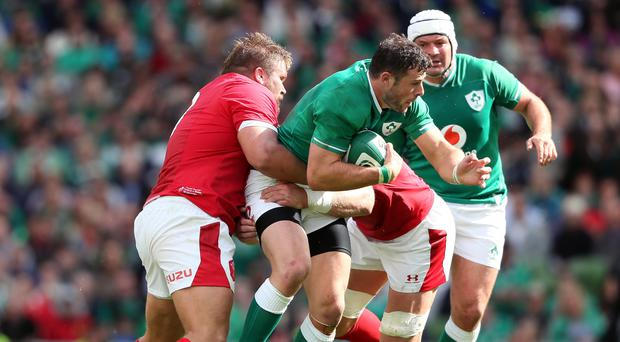 Robbie Henshaw, centre, is an injury doubt for Ireland (Brian Lawless/PA)