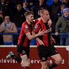 Crusaders Jordan Owens celebrates after scoring the winner against Coleraine last week. Credit: Inpho/Stephen Hamilton